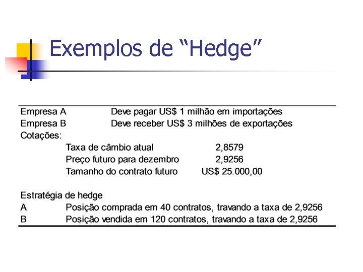"""Exemplos de """"Hedge"""""""