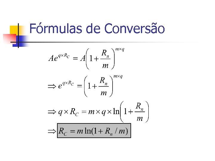 Fórmulas de Conversão