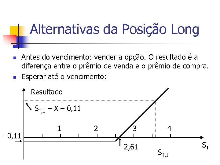 Alternativas da Posição Long n n Antes do vencimento: vender a opção. O resultado