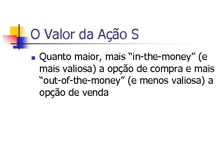 """O Valor da Ação S n Quanto maior, mais """"in-the-money"""" (e mais valiosa) a"""