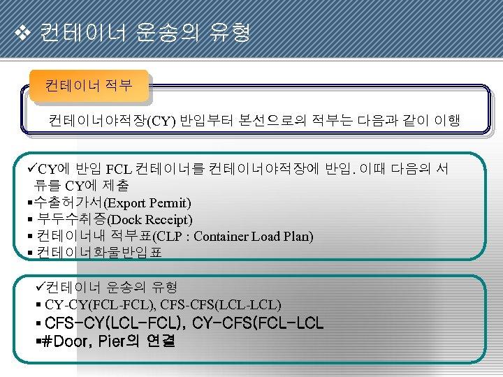 v 컨테이너 운송의 유형 컨테이너 적부 컨테이너야적장(CY) 반입부터 본선으로의 적부는 다음과 같이 이행 üCY에