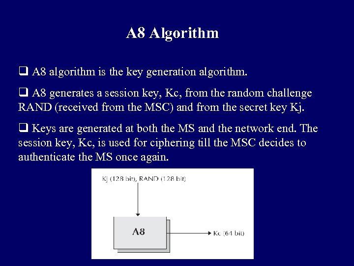 A 8 Algorithm q A 8 algorithm is the key generation algorithm. q A