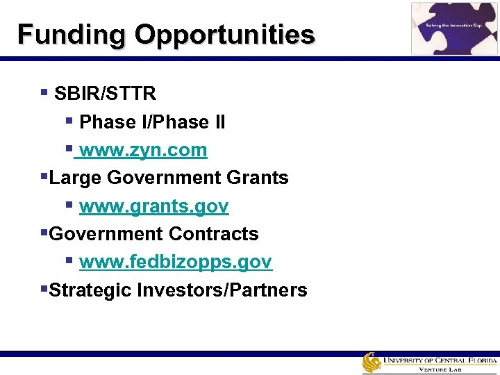 Funding Opportunities § SBIR/STTR § Phase I/Phase II § www. zyn. com §Large Government