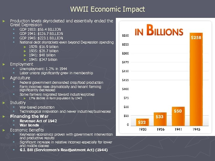 WWII Economic Impact ► Production levels skyrocketed and essentially ended the Great Depression §
