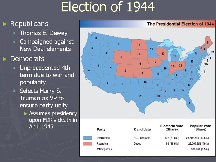 Election of 1944 ► Republicans § Thomas E. Dewey § Campaigned against New Deal