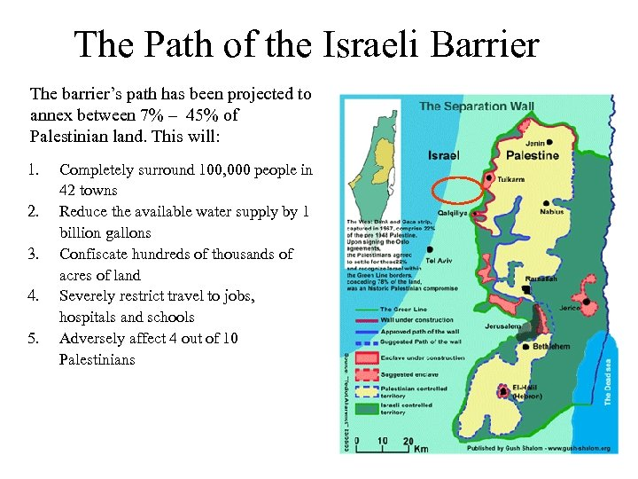 The Path of the Israeli Barrier The barrier's path has been projected to annex