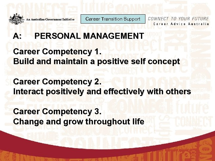 Career Transition Support A: PERSONAL MANAGEMENT Career Competency 1. Build and maintain a positive