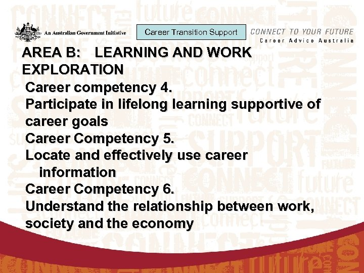 Career Transition Support AREA B: LEARNING AND WORK EXPLORATION Career competency 4. Participate in