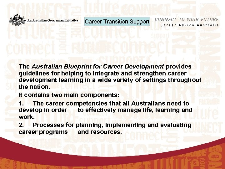 Career Transition Support The Australian Blueprint for Career Development provides guidelines for helping to