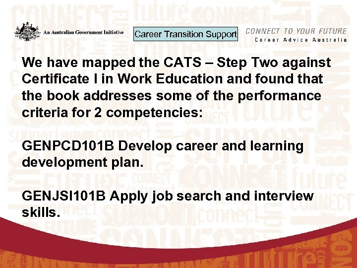 Career Transition Support We have mapped the CATS – Step Two against Certificate I
