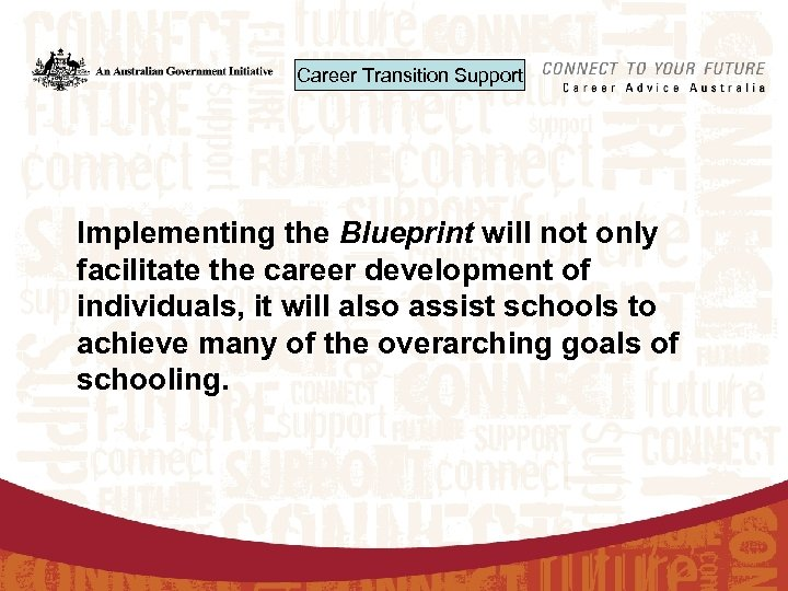 Career Transition Support Implementing the Blueprint will not only facilitate the career development of