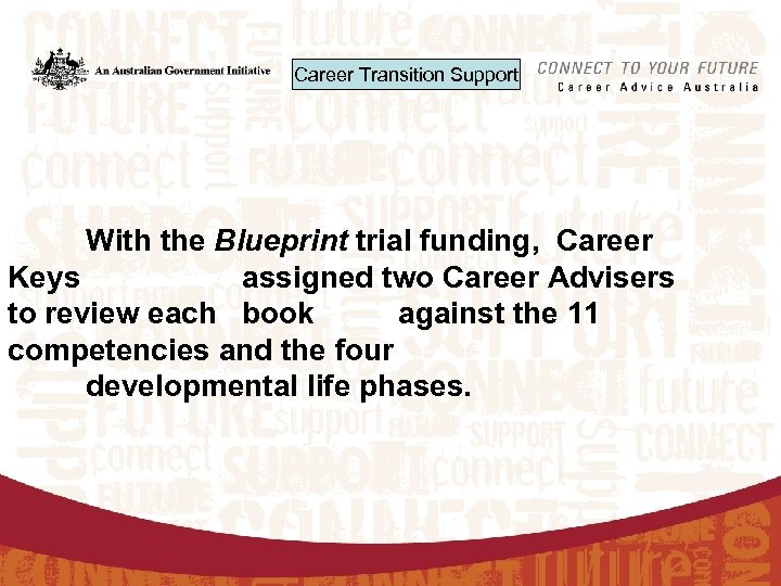 Career Transition Support With the Blueprint trial funding, Career Keys assigned two Career Advisers