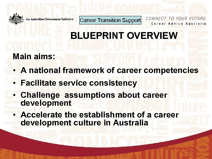 Career Transition Support BLUEPRINT OVERVIEW Main aims: • A national framework of career competencies