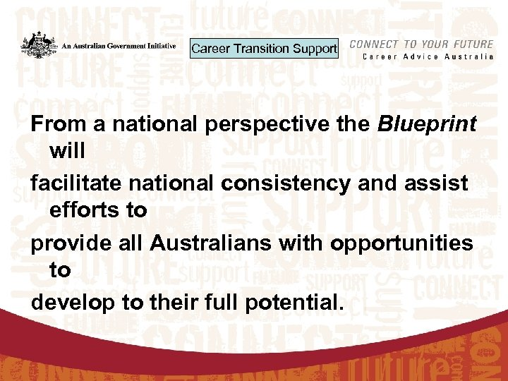 Career Transition Support From a national perspective the Blueprint will facilitate national consistency and