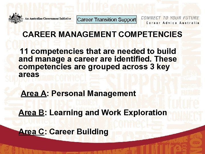 Career Transition Support CAREER MANAGEMENT COMPETENCIES 11 competencies that are needed to build and
