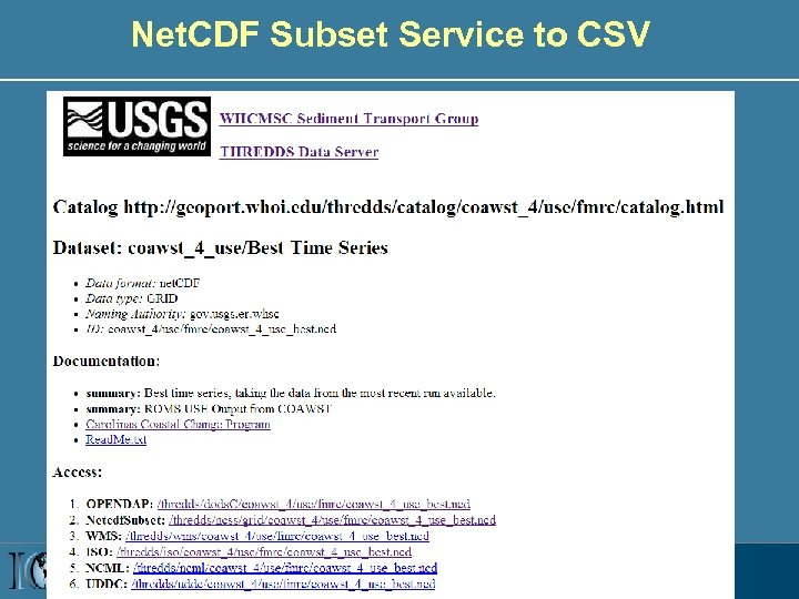 Net. CDF Subset Service to CSV