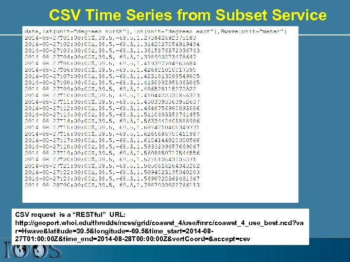 """CSV Time Series from Subset Service CSV request is a """"RESTful"""" URL: http: //geoport."""