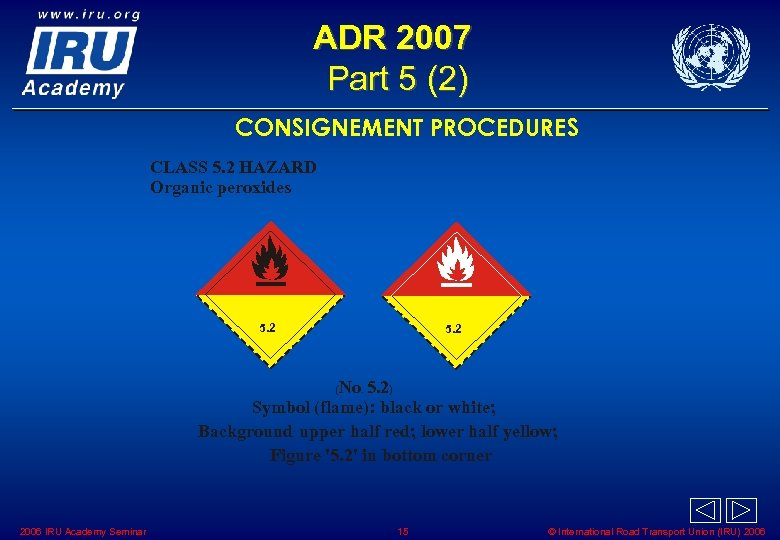 ADR 2007 Part 5 (2) CONSIGNEMENT PROCEDURES CLASS 5. 2 HAZARD Organic peroxides 5.