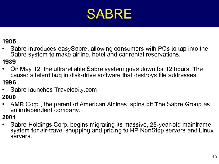 SABRE 1985 • Sabre introduces easy. Sabre, allowing consumers with PCs to tap into
