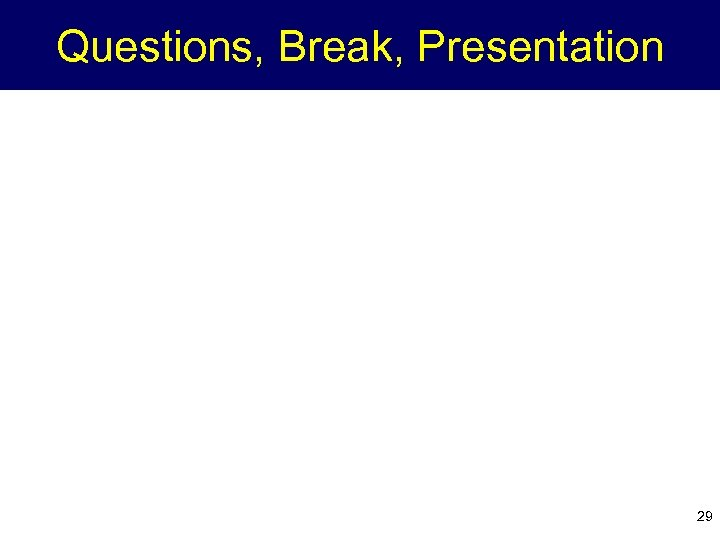 Questions, Break, Presentation 29