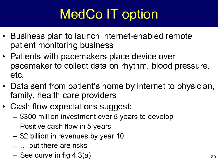 Med. Co IT option • Business plan to launch internet-enabled remote patient monitoring business