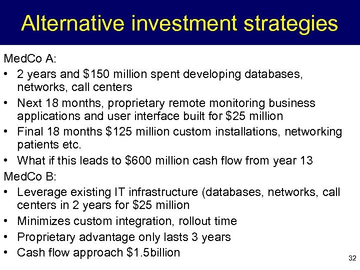 Alternative investment strategies Med. Co A: • 2 years and $150 million spent developing