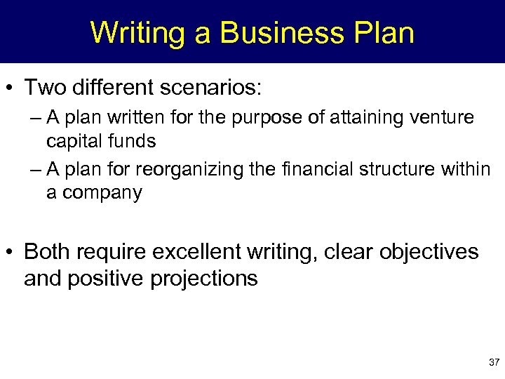 Writing a Business Plan • Two different scenarios: – A plan written for the