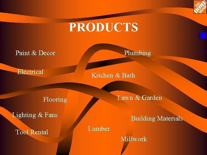 PRODUCTS Paint & Decor Electrical Plumbing Kitchen & Bath Lawn & Garden Flooring Lighting