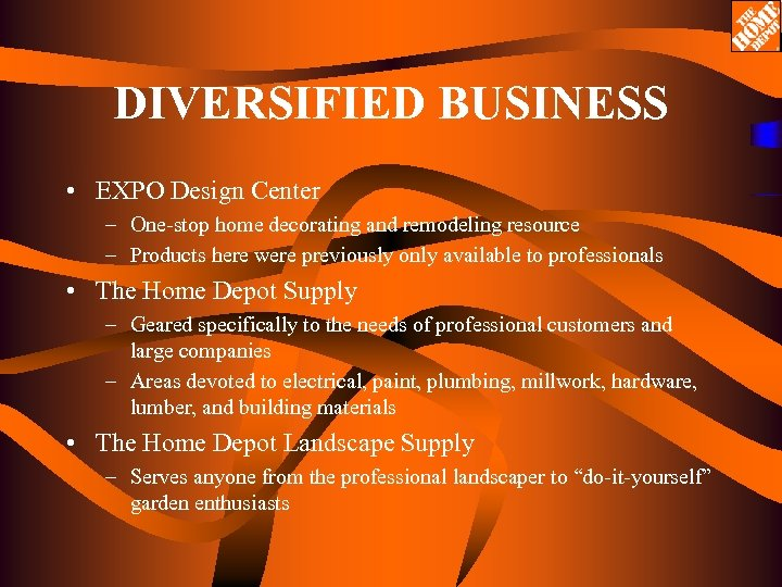 DIVERSIFIED BUSINESS • EXPO Design Center – One-stop home decorating and remodeling resource –