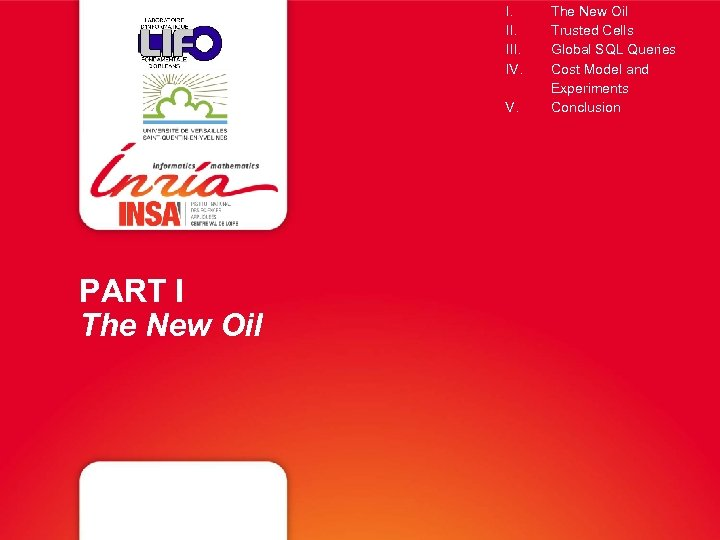 I. III. IV. V. PART I The New Oil Trusted Cells Global SQL Queries