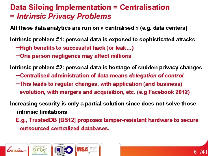 Data Siloing Implementation = Centralisation = Intrinsic Privacy Problems All these data analytics are