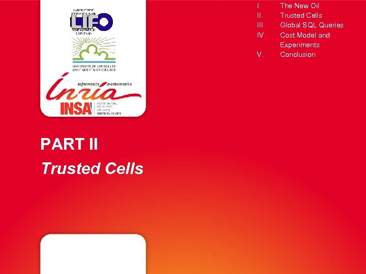 I. III. IV. V. PART II Trusted Cells The New Oil Trusted Cells Global