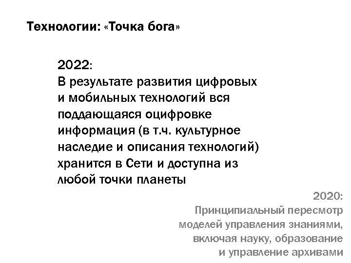 Технологии: «Точка бога» 2022: В результате развития цифровых и мобильных технологий вся поддающаяся оцифровке