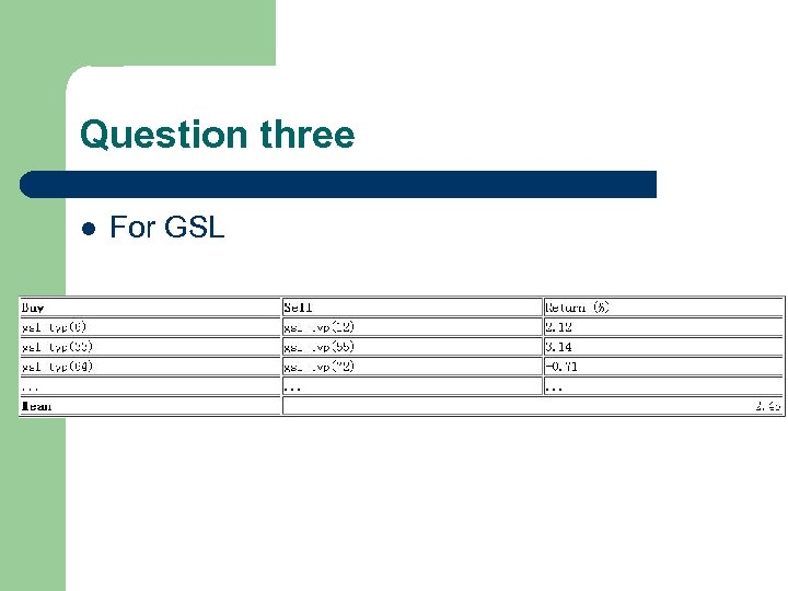 Question three l For GSL