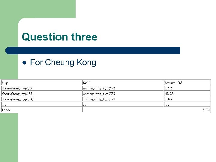 Question three l For Cheung Kong