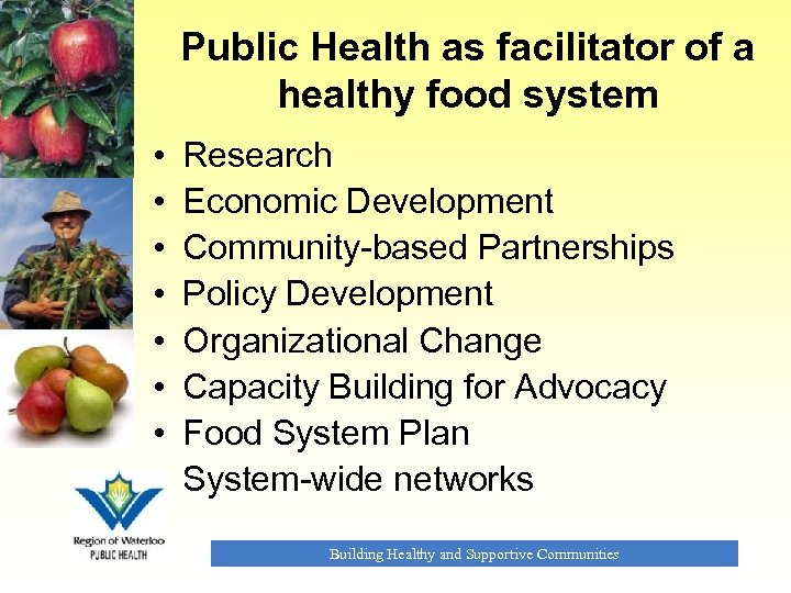 Public Health as facilitator of a healthy food system • • Research Economic Development