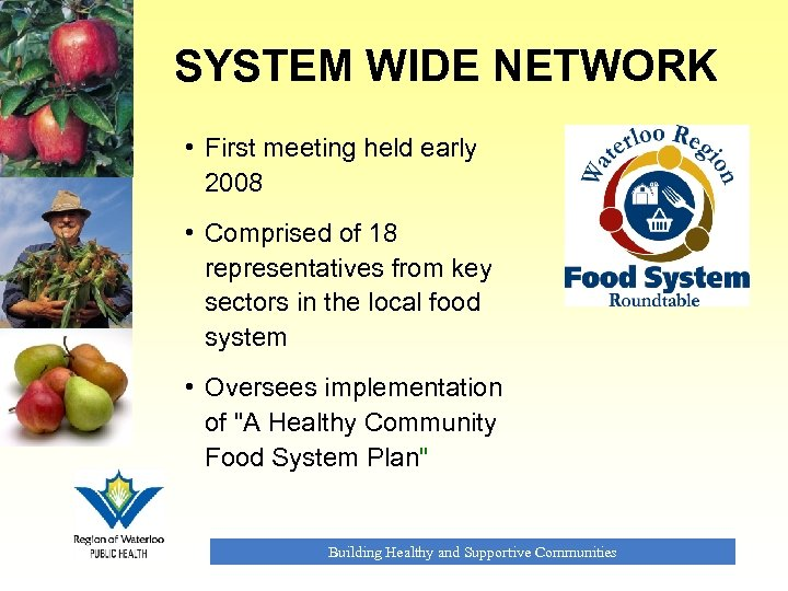 SYSTEM WIDE NETWORK • First meeting held early 2008 • Comprised of 18 representatives