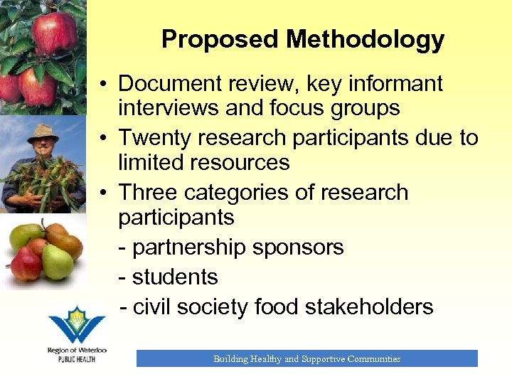 Proposed Methodology • Document review, key informant interviews and focus groups • Twenty research