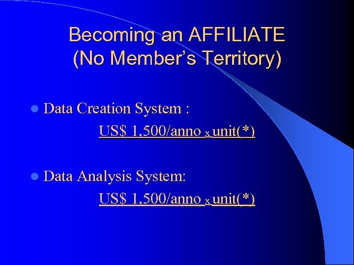 Becoming an AFFILIATE (No Member's Territory) l Data Creation System : US$ 1, 500/anno