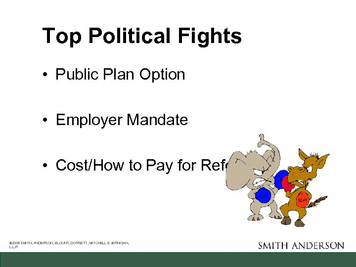 Top Political Fights • Public Plan Option • Employer Mandate • Cost/How to Pay