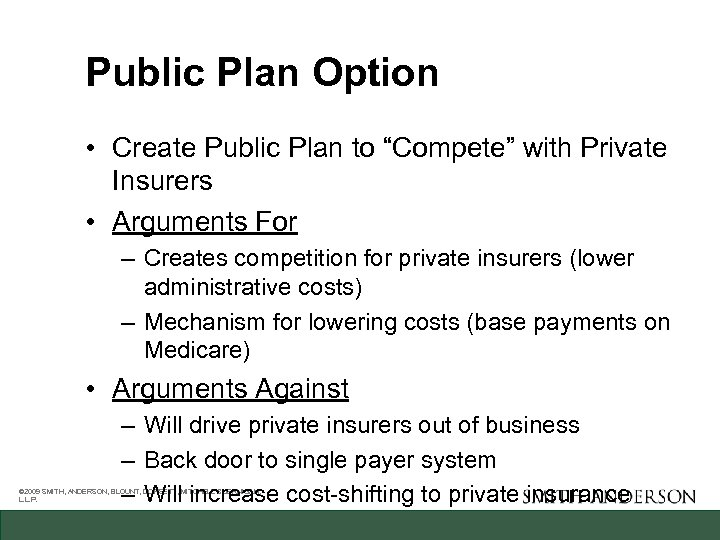 """Public Plan Option • Create Public Plan to """"Compete"""" with Private Insurers • Arguments"""