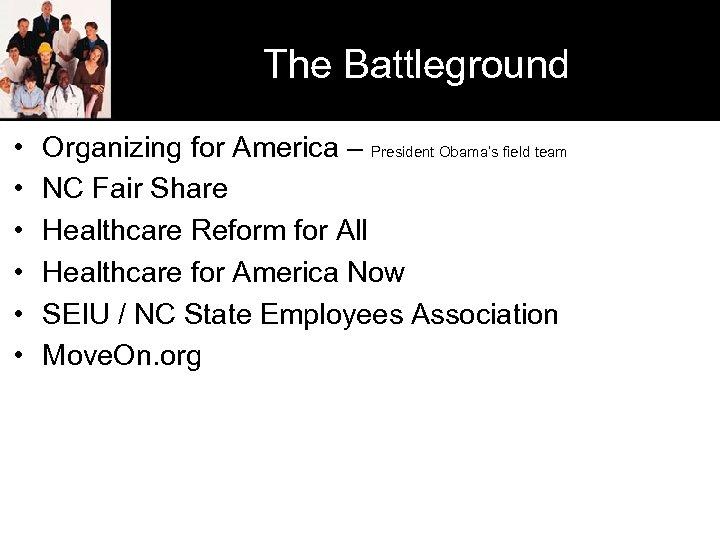 The Battleground • • • Organizing for America – President Obama's field team NC