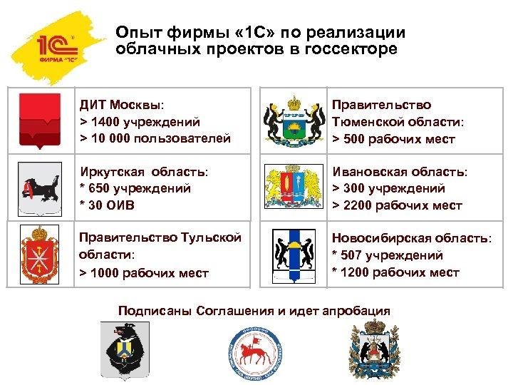 Опыт фирмы « 1 С» по реализации облачных проектов в госсекторе ДИТ Москвы: >