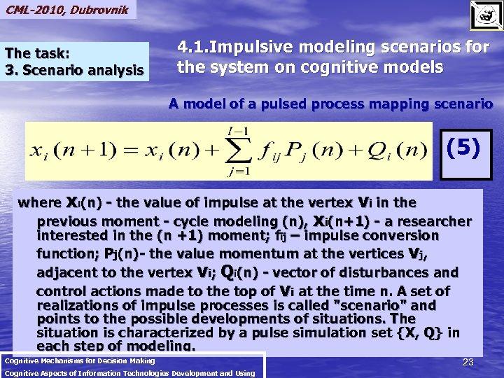CML-2010, Dubrovnik The task: 3. Scenario analysis 4. 1. Impulsive modeling scenarios for the