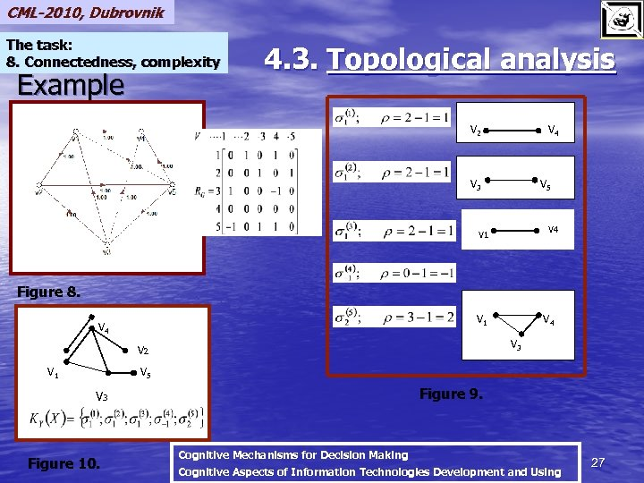 CML-2010, Dubrovnik The task: 8. Connectedness, complexity Example 4. 3. Topological analysis V 2