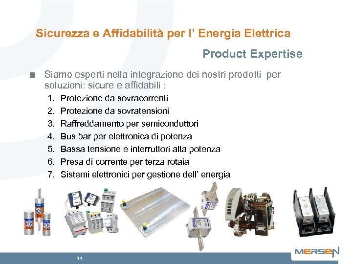 Sicurezza e Affidabilità per l' Energia Elettrica Product Expertise Siamo esperti nella integrazione dei