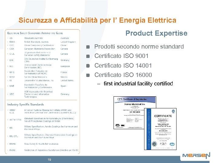 Sicurezza e Affidabilità per l' Energia Elettrica Product Expertise Prodotti secondo norme standard Certificato
