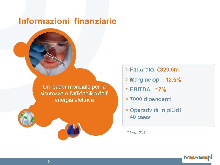Informazioni finanziarie > Fatturato: € 829. 6 m > Margine op. : 12. 5%