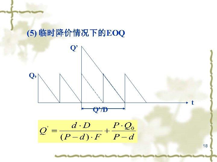 (5) 临时降价情况下的EOQ Q' Q 0 Q'/D t 18