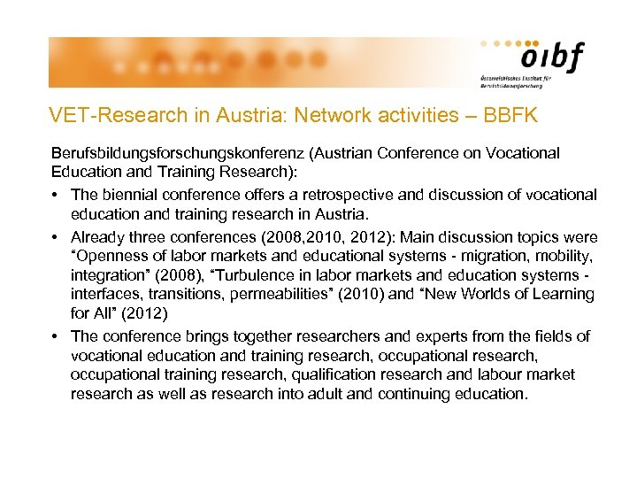 VET-Research in Austria: Network activities – BBFK Berufsbildungsforschungskonferenz (Austrian Conference on Vocational Education and